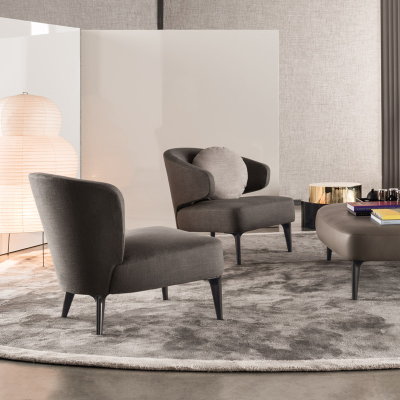 Minotti Aston Lounge Chair Orange Skin