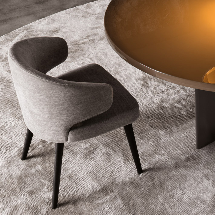 Minotti Aston Dining Chair Orange Skin