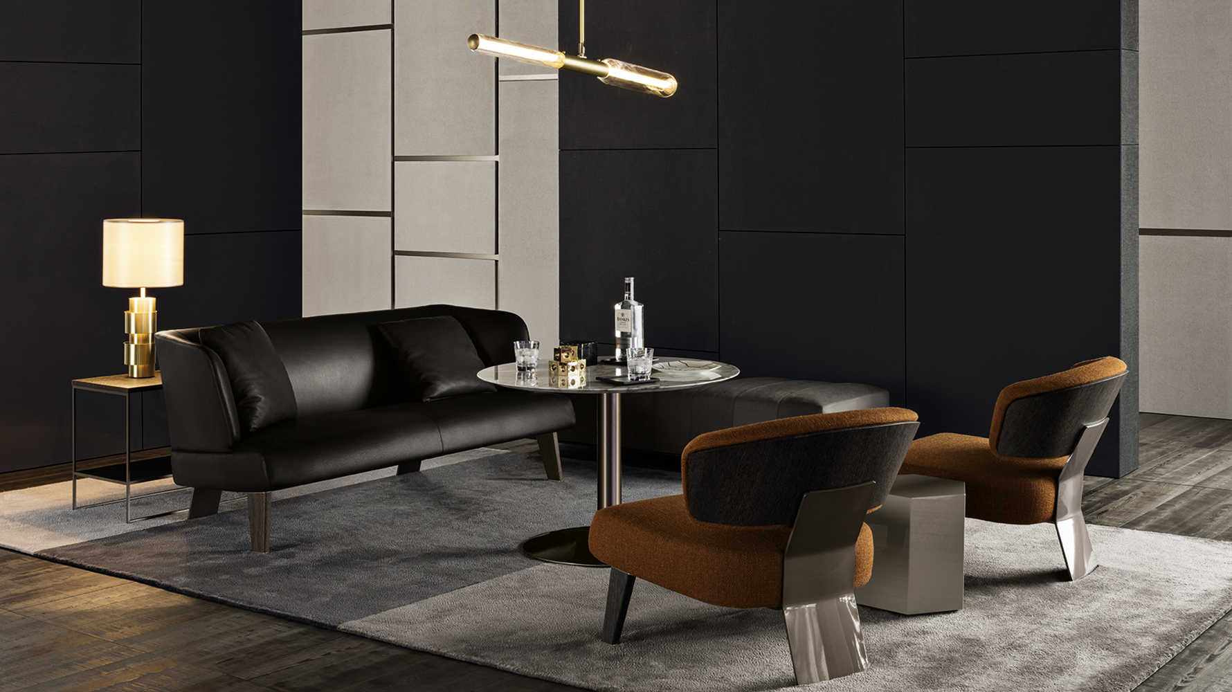creed divano lounge designed by rodolfo dordini minotti orange skin. Black Bedroom Furniture Sets. Home Design Ideas