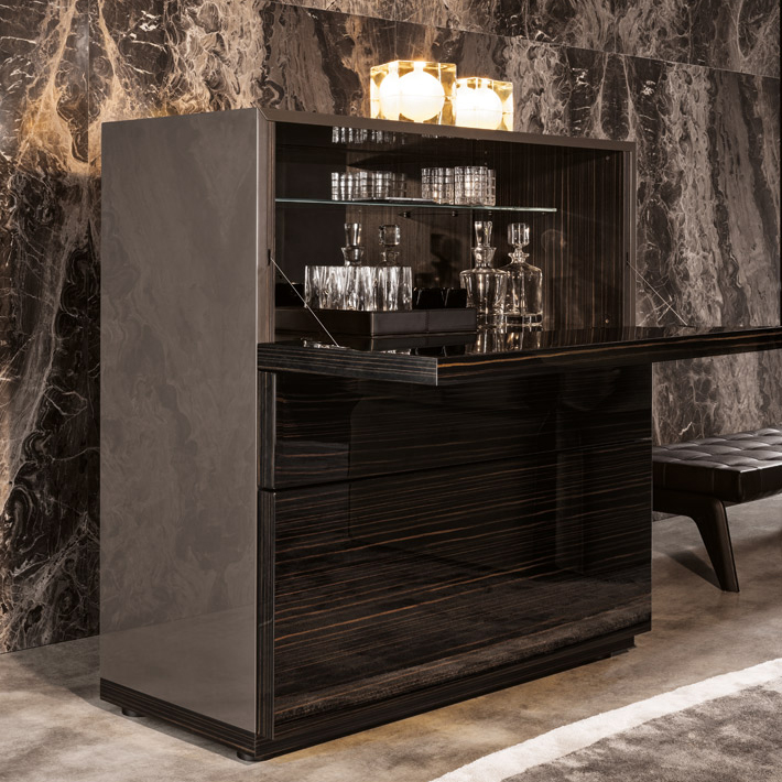 Minotti Lang Bar Cabinet Orange Skin
