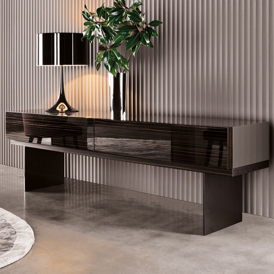 lang console designed by rodolfo dordoni minotti orange skin. Black Bedroom Furniture Sets. Home Design Ideas