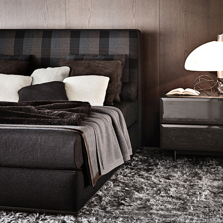 Powell Bed Designed By Rodolfo Dordoni Minotti Orange Skin